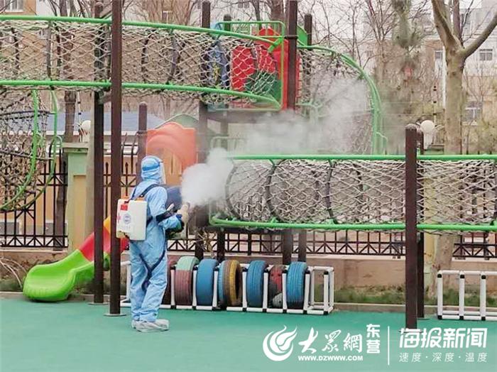 广饶县广饶街道锦湖幼儿园持续开展疫情防控消毒工作